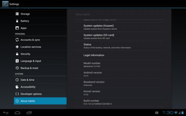 Huawei MediaPad 10 FHD: jätä sistema (Android 4.0.4 B010)