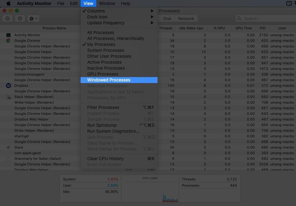 En el menú del Monitor de actividad, haga clic en Ver y seleccionar procesos en ventana