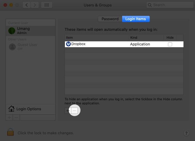 En la pestaña Elementos de inicio de sesión, seleccione la aplicación y toque Menos para evitar que se abra al iniciar en Mac