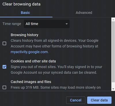 Netflix Error Code M7353 - Cómo solucionarlo - Borrar datos de navegación