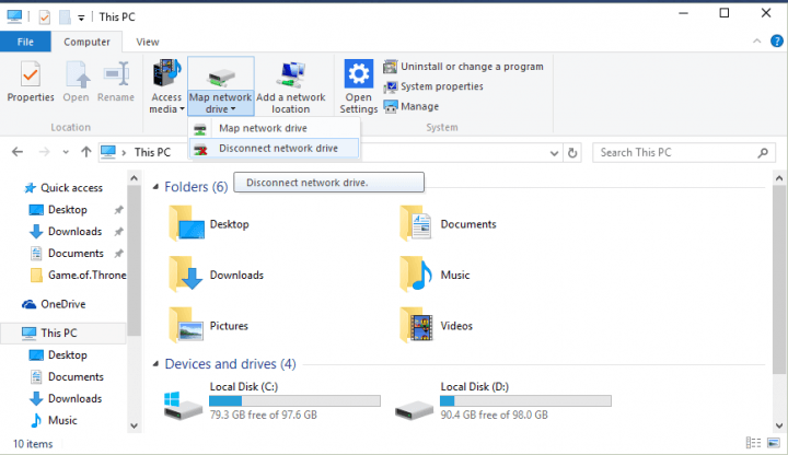disconnect the wind8apps network drive