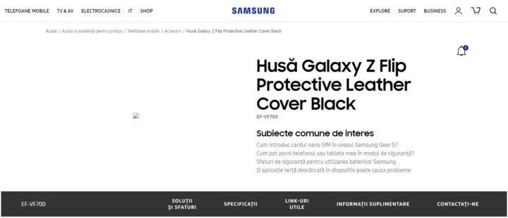 Samsung Galaxy Z Flip Cover Kulit Kembali dikonfirmasi oleh halaman dukungan