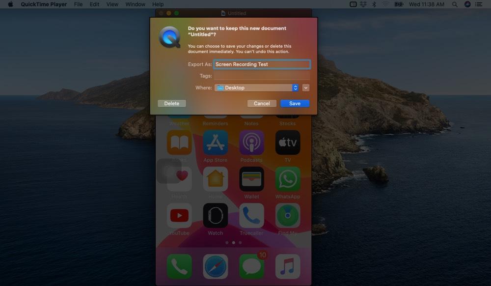 Guardar grabación de pantalla de iPhone en Mac