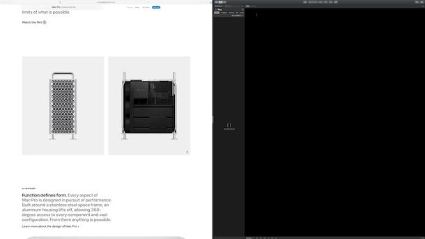macOS Catalina split screen