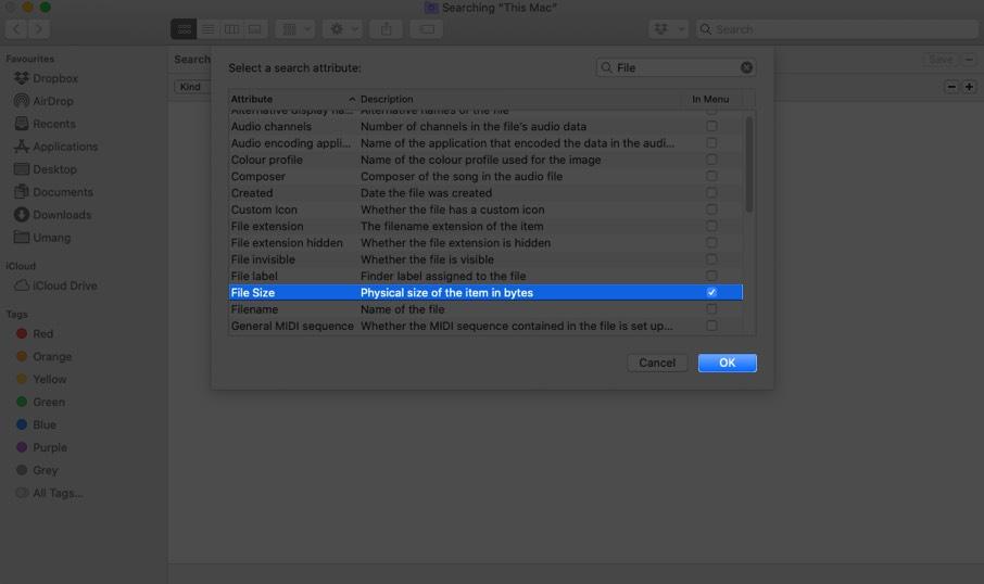 Seleccione Tamaño de archivo y haga clic en Aceptar en Finder en Mac