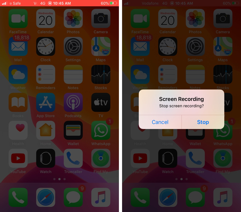 Detener la grabación de pantalla en iPhone