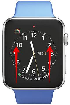 Desliza hacia arriba desde abajo en tu Apple Watch Pantalla