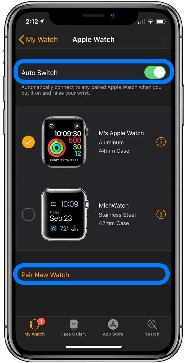 Cambiar entre múltiples Apple Relojes