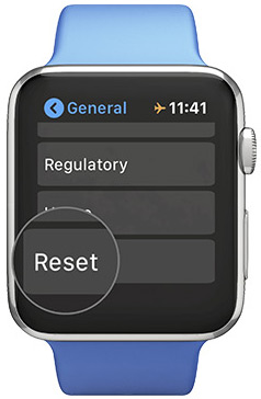 Toque Restablecer en general en Apple Watch Configuraciones