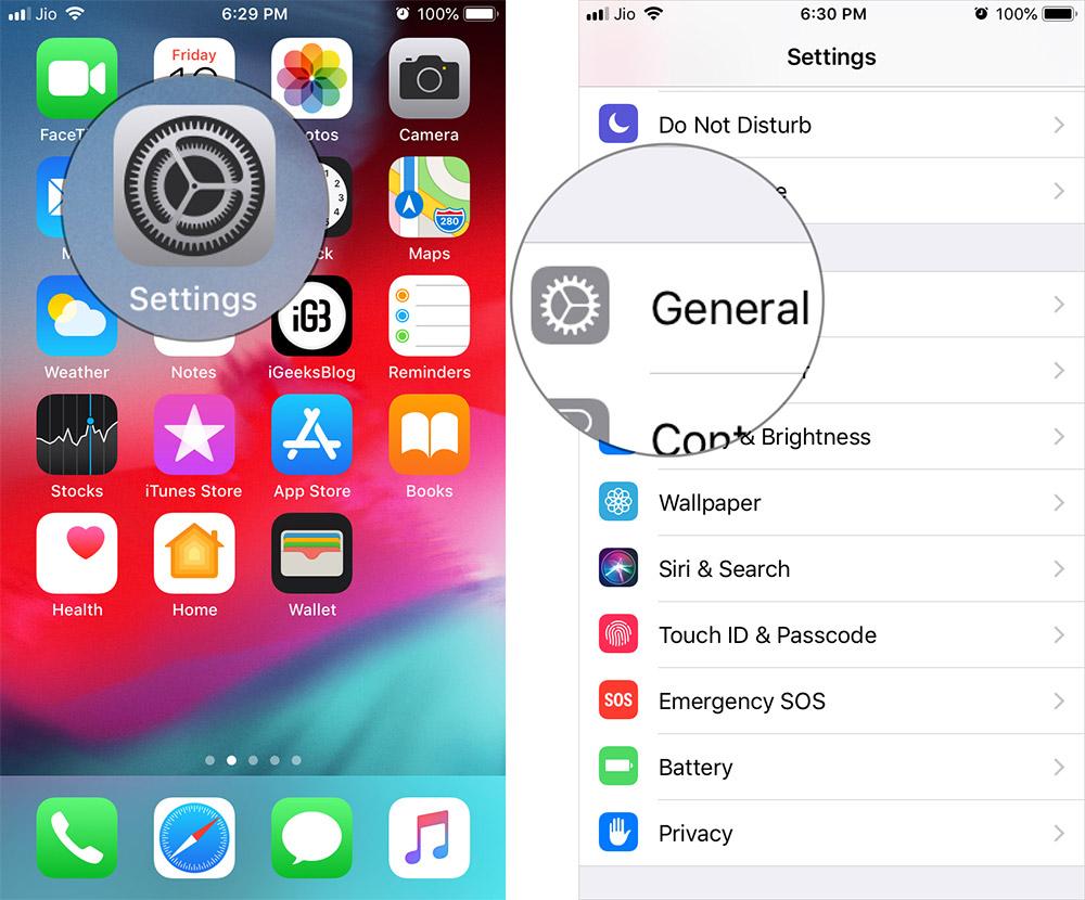 Toque Configuración y luego General en iOS 12 o antes