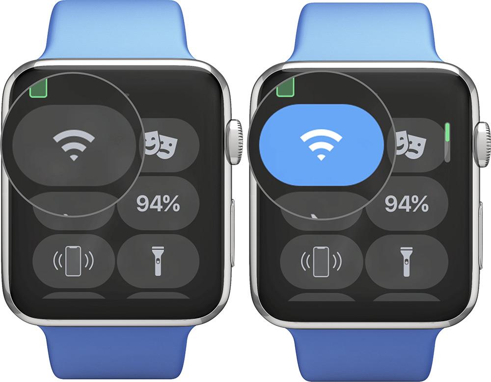 Toque el icono de Wifi para conectarse con Wifi activado Apple Watch
