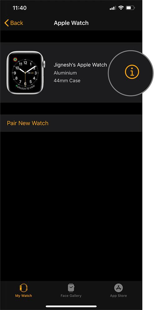 Toque el icono de información en la aplicación Watch en iOS 13