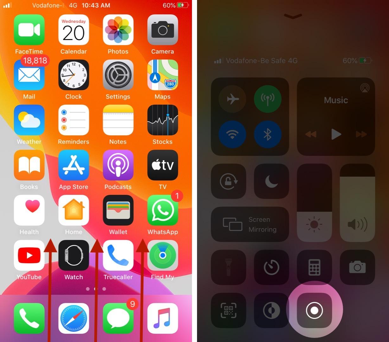Toque y sostenga la grabación de pantalla en el Centro de control en iPhone