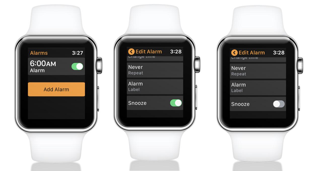 Desactivar Snooze para una alarma activada Apple Watch