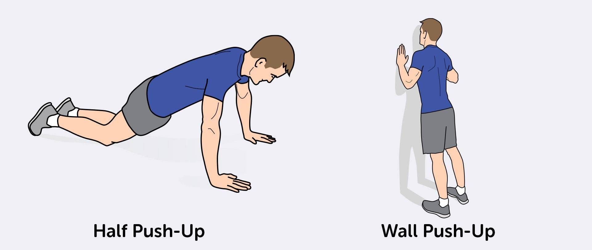 Setengah push-up dan dinding push-up adalah alternatif yang lebih mudah bagi pemula.