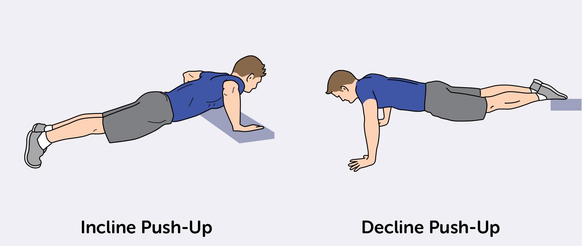 Targetkan dada bagian bawah dan atas Anda dengan push-up miring dan menolak push-up.