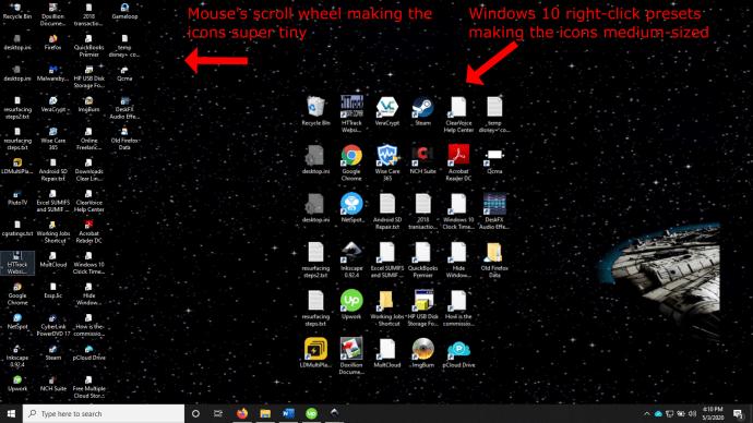 Kuinka tehdä työpöydän kuvakkeista pienempi 2