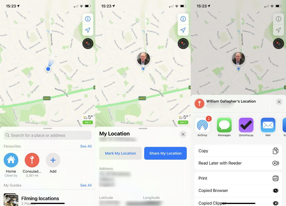 Abierto Apple Mapas, toque el punto azul que lo representa y podrá compartir su ubicación actual inmediatamente