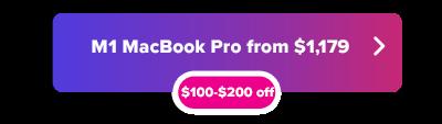 M1 MacBook Pro 13 Pulgada $ 100 a $ 200 botón de descuento