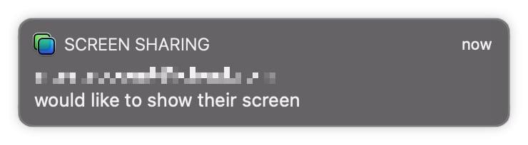 Un ejemplo de una notificación de pantalla compartida