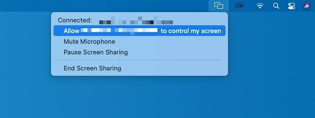 Al compartir el escritorio, el usuario puede administrar si su Mac se puede controlar de forma remota, su micrófono y desconectar al usuario remoto.