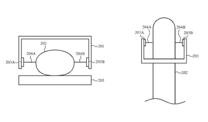 Detalle de la patente que muestra (izquierda) una vista frontal y superior (derecha) de un dedo detectado sin sensores táctiles