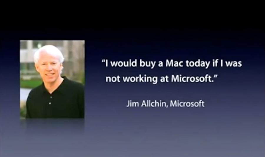 Jobs muestra una cita de Jim Allchin del equipo de liderazgo sénior de Microsoft sobre la compra de Mac