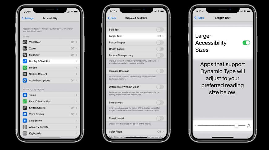 Cómo agrandar el texto a través de la configuración de accesibilidad en iOS