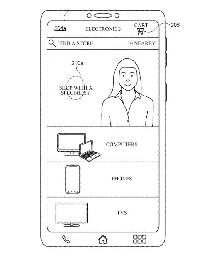 Detalle de la solicitud de patente que muestra el Apple Aplicación de la tienda con un Personal Shopper en video