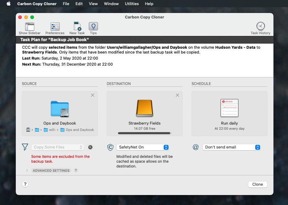Carbon Copy Cloner puede respaldar automáticamente archivos específicos en unidades específicas