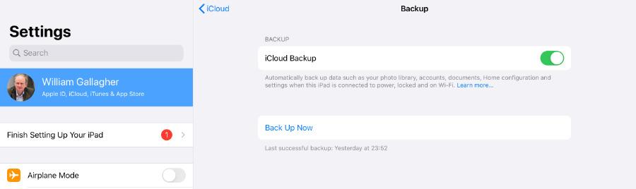 Haga una copia de seguridad de su antiguo iPad en iCloud