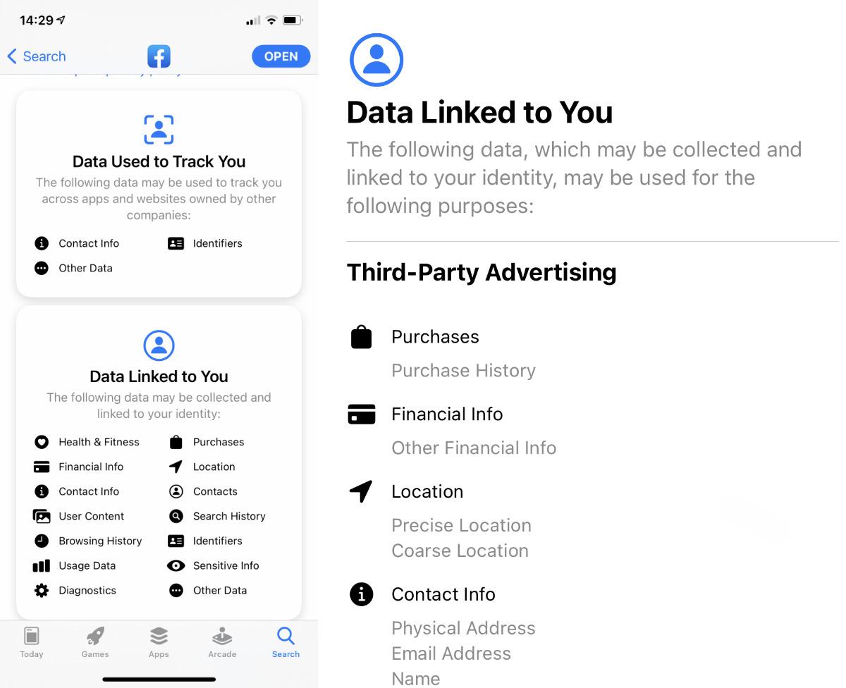 Facebook  obtiene dos etiquetas, y el detalle en cada una continúa durante bastantes páginas