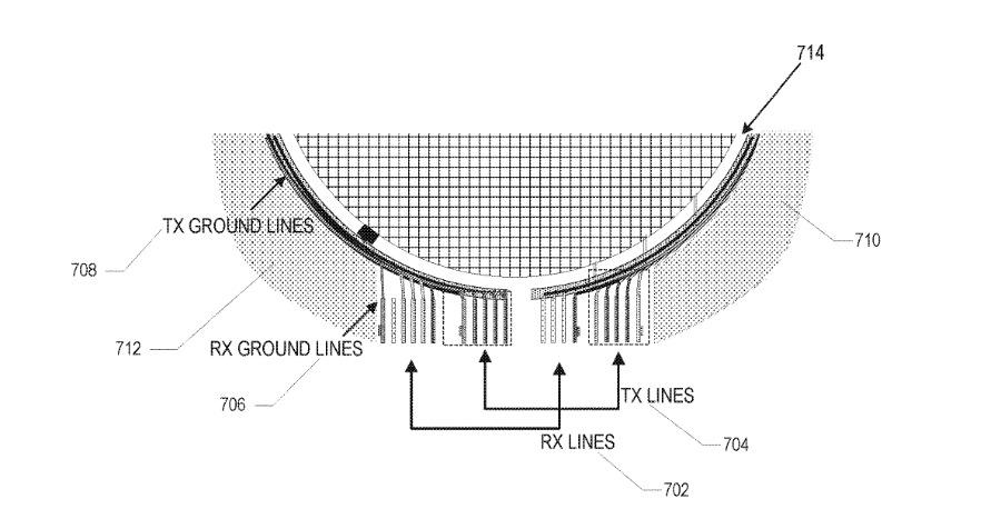 Detalle de la patente que muestra cómo se pueden enviar señales desde y hacia una antena en pantalla