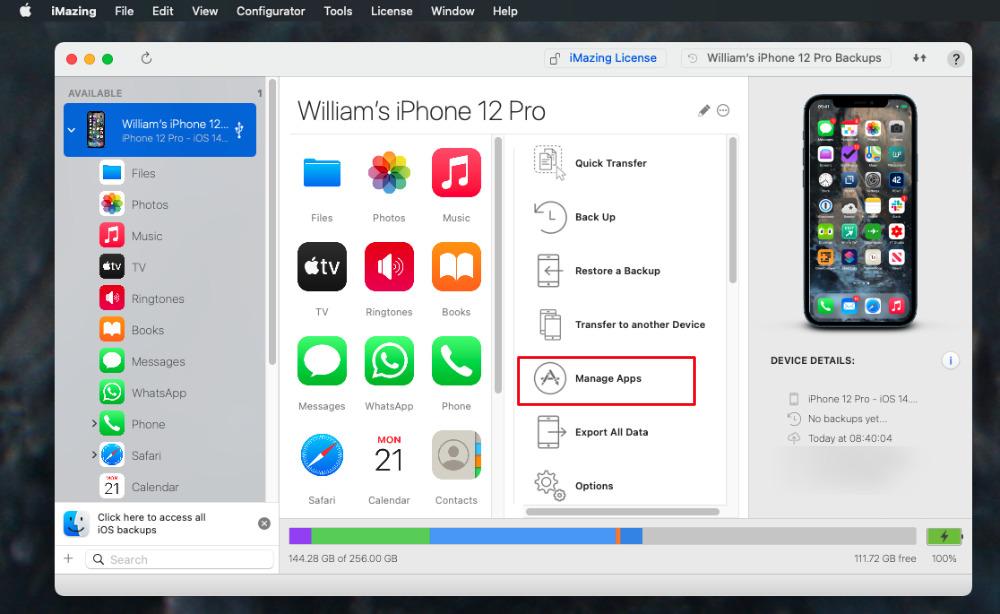 En iMazing, conecte su dispositivo iOS y elija Administrar aplicaciones