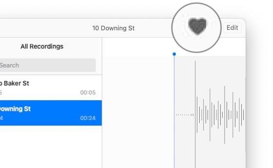 Haga clic en el símbolo del corazón para enumerar una grabación como favorita.