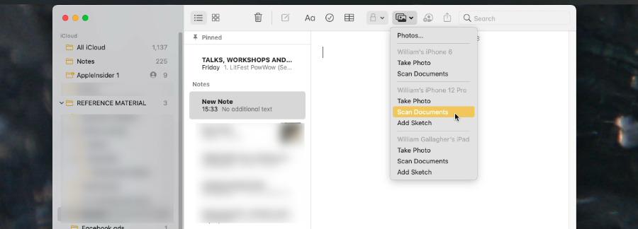 La cámara de continuidad es una excelente manera de obtener escaneos en Notes en su Mac