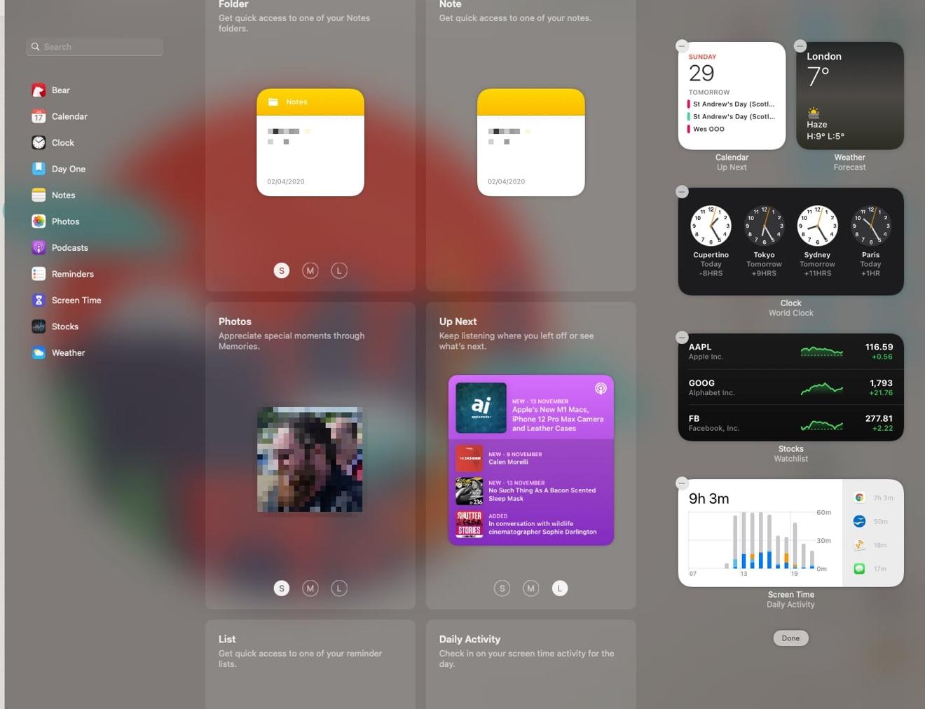 La pantalla Editar widgets del Centro de notificaciones en macOS Big Sur