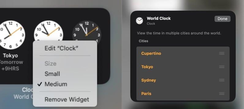 Hacer clic derecho en un widget puede abrir las opciones de edición en macOS Big Sur.