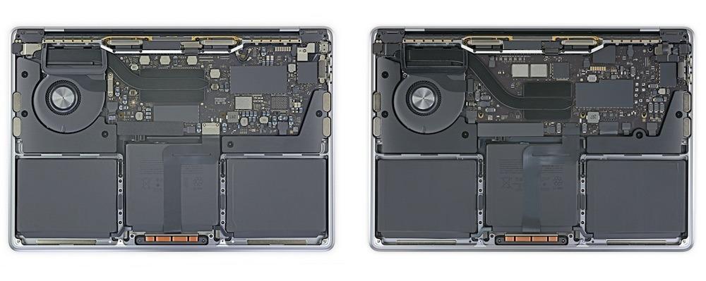 El MacBook Pro basado en Intel (izquierda) frente al MacBook Pro M1 (derecha).  Crédito: iFixit