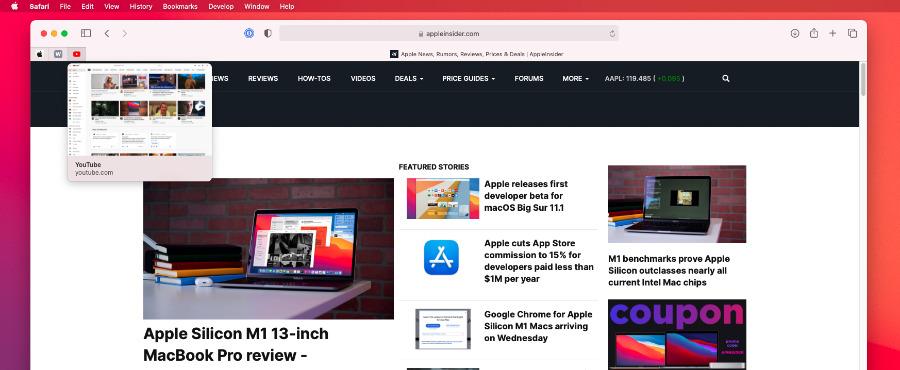 La nueva vista previa de Safari también funciona con pestañas ancladas