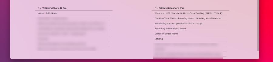 Debería poder abrir las pestañas de Safari desde sus otros dispositivos allí mismo en su Mac.