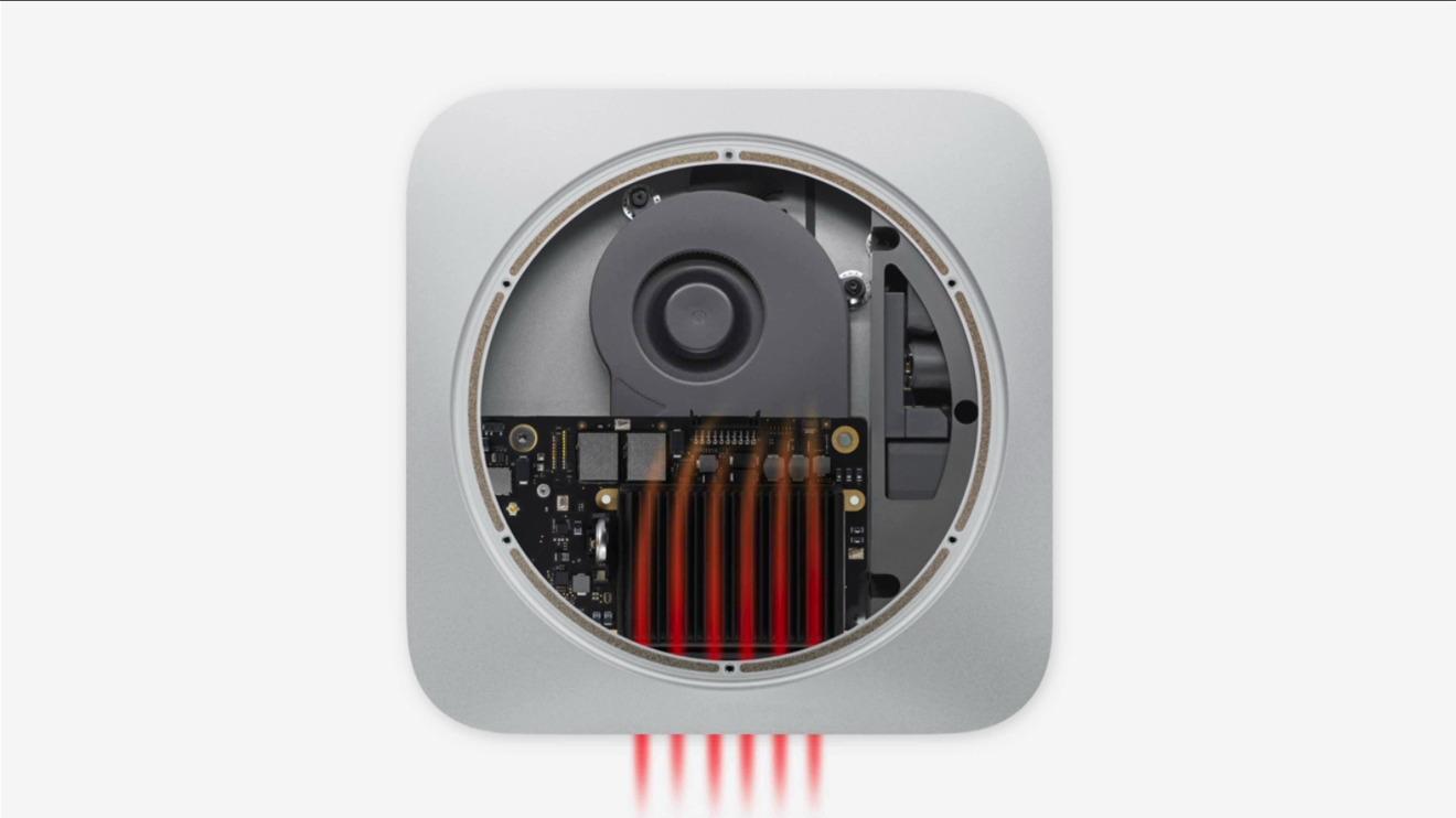 Detalle de cómo el nuevo Mac mini disipa el calor (Fuente: Apple)