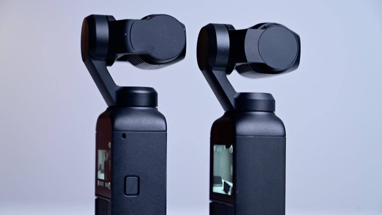 Botón de encendido y uno de los nuevos micrófonos en DJI Pocket 2 (izquierda)