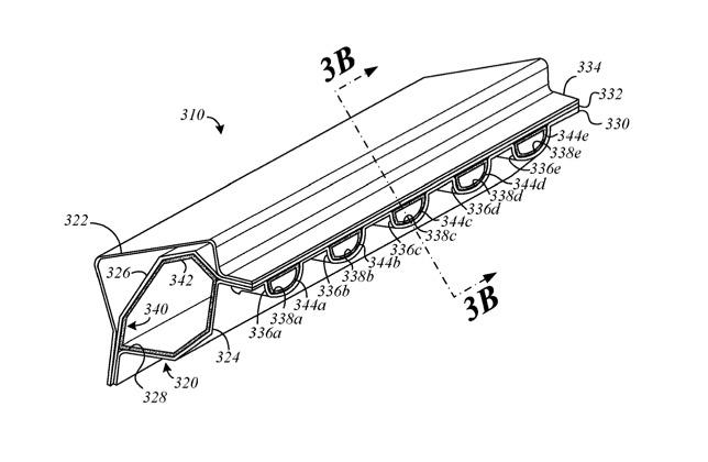 Cómo Apple Planea hacer más espacio para la ventilación en la carrocería de un automóvil diseñando y dando forma cuidadosamente a las estructuras de soporte.