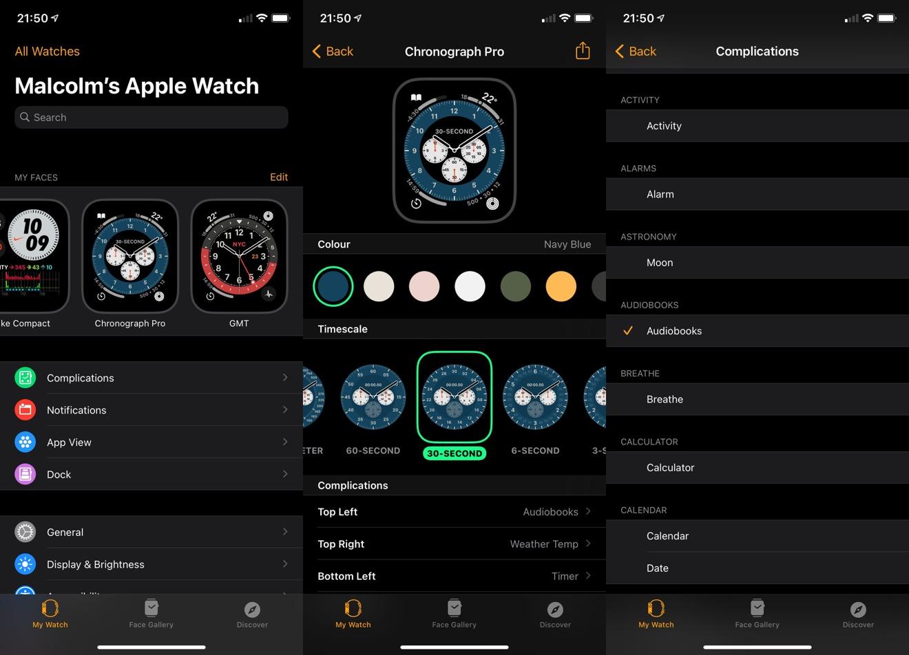 Cambiar los atributos y las complicaciones de la esfera del reloj a través de la aplicación Watch del iPhone.
