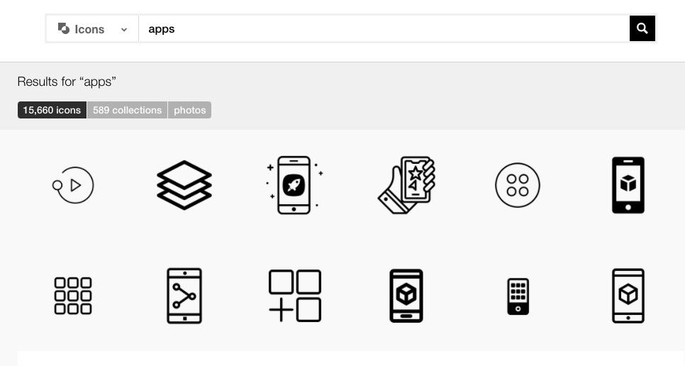 Iconos de estilo de aplicación disponibles en The Noun Project