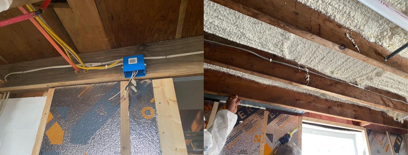 Cajas eléctricas de techo (izquierda) y primera ronda de aislamiento de espuma en aerosol en el techo (derecha)