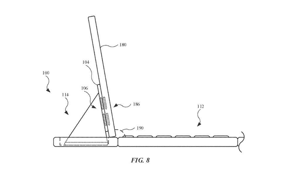 El mecanismo de bisagra que sostiene un iPad.  Crédito: Apple/ USPTO