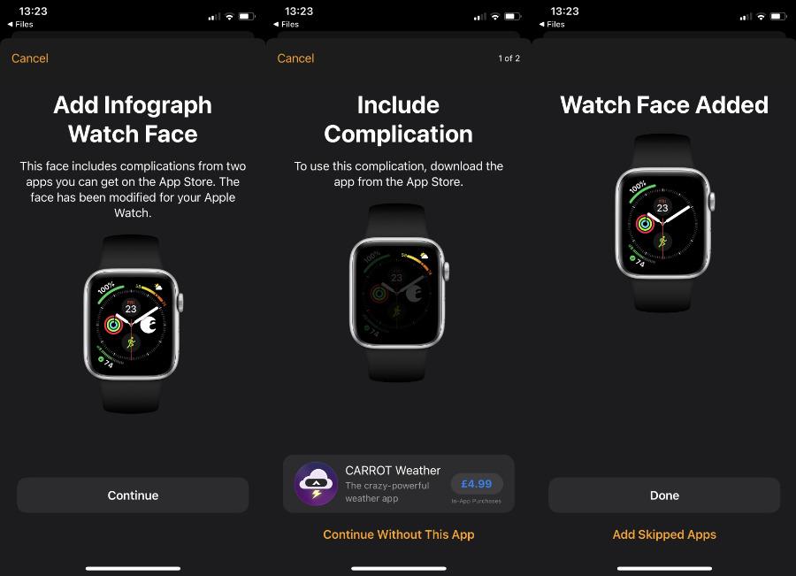 Si no tiene las mismas aplicaciones que su remitente, puede comprarlas antes de instalar su esfera de reloj