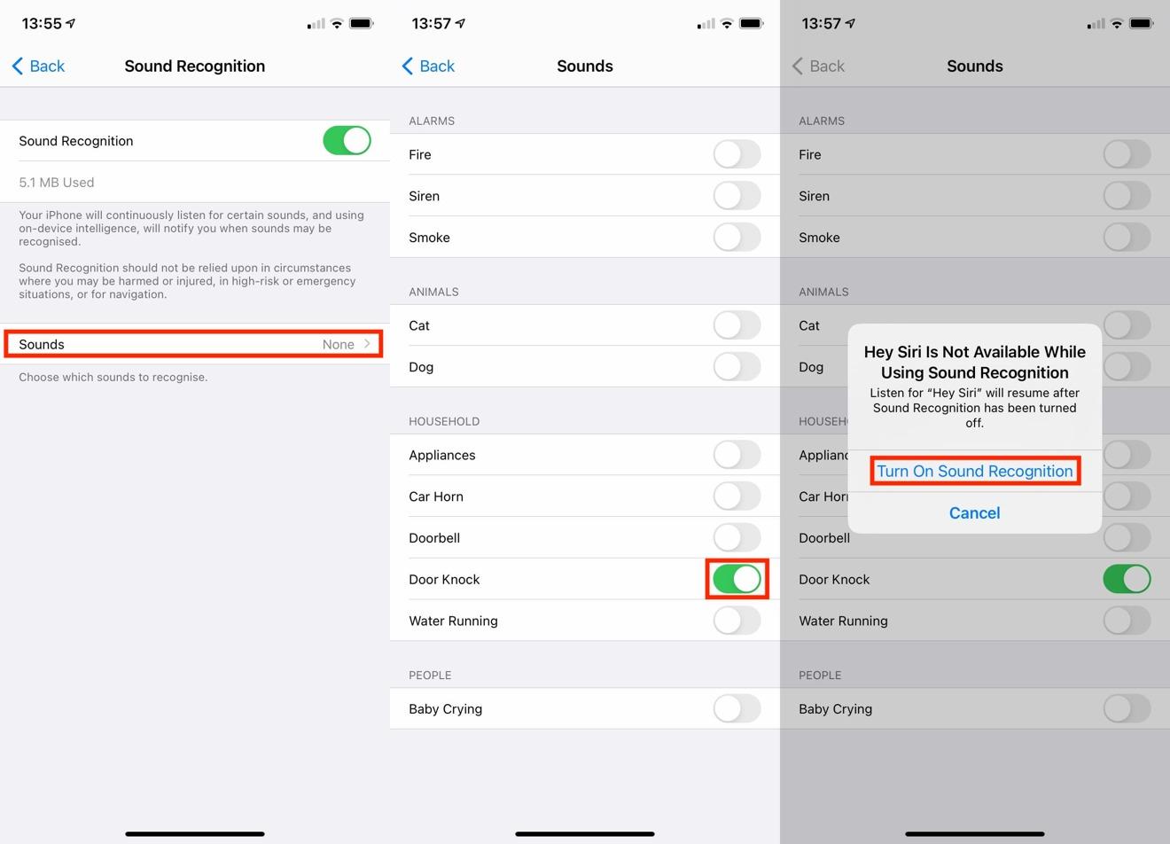 El camino para habilitar el reconocimiento de sonido para un sonido específico, completo con el cuadro de diálogo de advertencia de Siri.